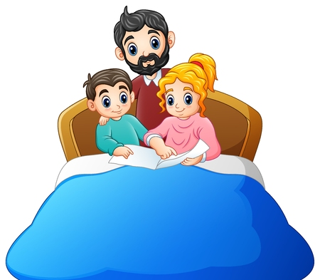 Family reading a book to son on bed on a white background