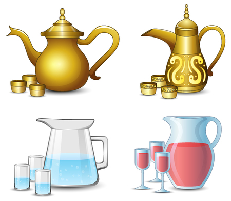 Collection of the teapot with cups on white background