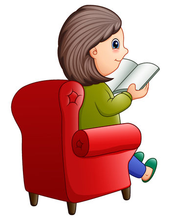 Female sitting on red sofa and reading book