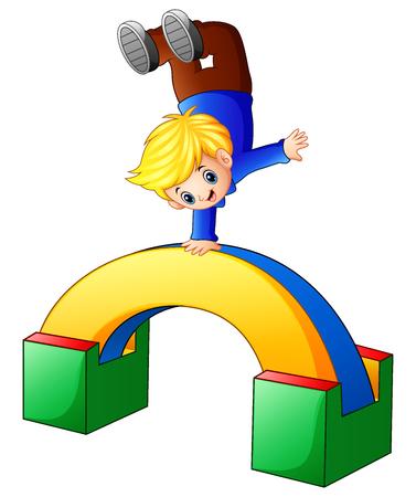 Vector illustration of Cartoon boy standing on his hands