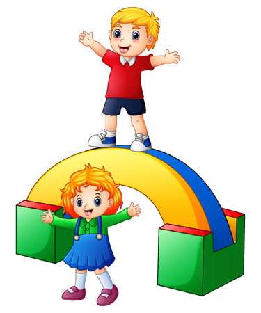 Vector illustration of Happy kids playing in the playground Vectores