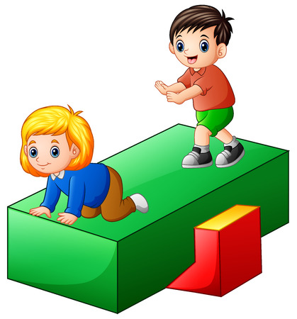 Vector illustration of Kids playing in the playground Illustration