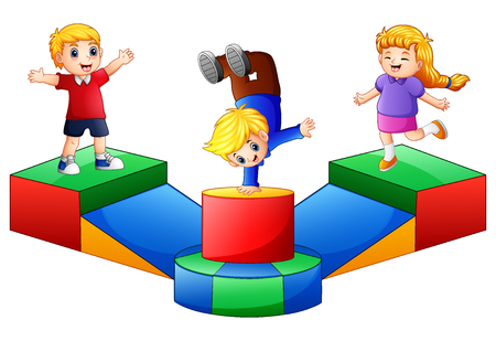 Vector illustration of Happy kids playing in the playground.