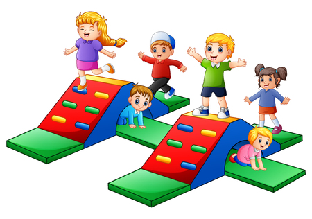 Vector illustration of Happy kids playing in the playground Illustration