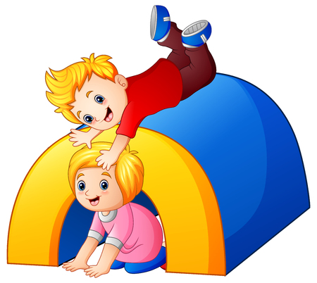 Vector illustration of Children playing in the playground. Illustration