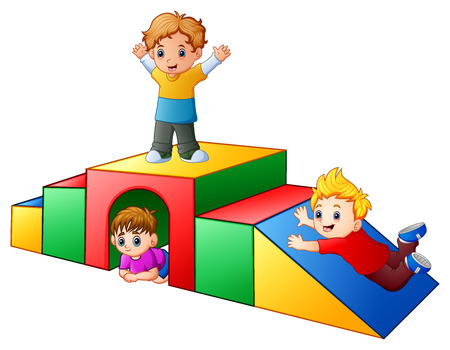 Vector illustration of Children playing in the playground