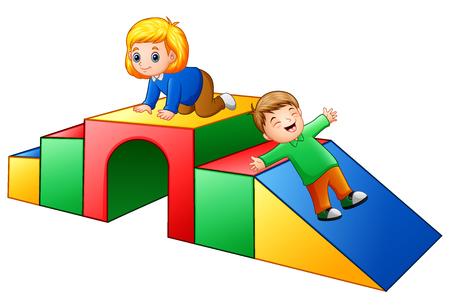Klettergerüst Clipart : Mädchen auf der treppe sammelt Äpfel. vector abbildung mit