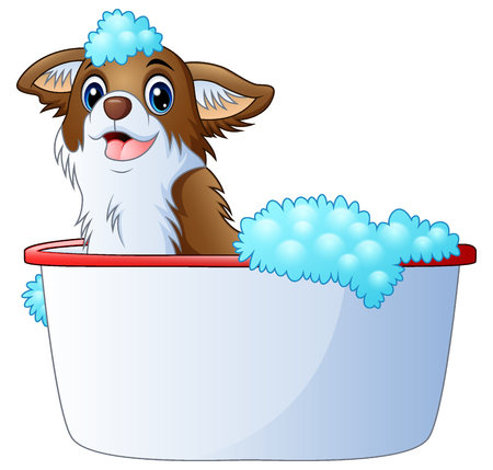 Vector illustration of Cute dog taking a bath on a white background Vectores