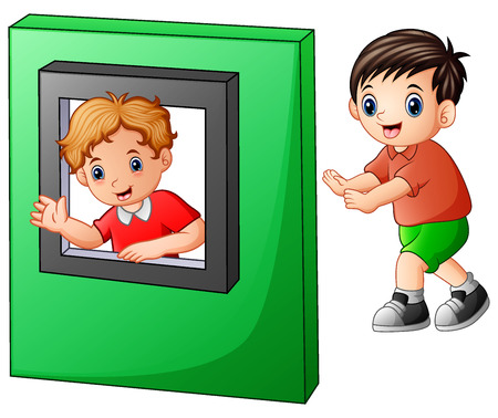 Vector illustration of Children playing with window toys
