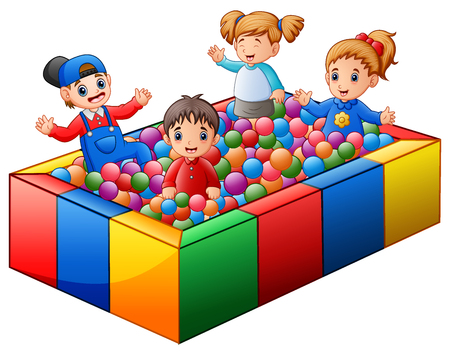 Vector illustration of Children playing on colorful balls pool