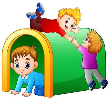 Vector illustration of Children playing playground tunnel.