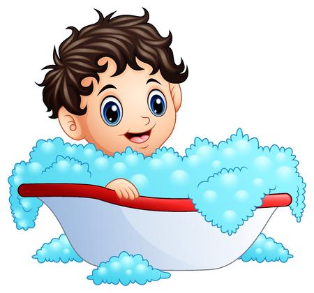 Cute little boy taking a bath on a white background