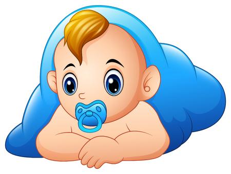 Lustiges Baby und Schnuller , die mit blauer Decke liegen Standard-Bild - 95181731
