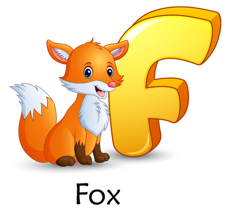 Vector illustration of Letter F is for Fox cartoon alphabet Illusztráció