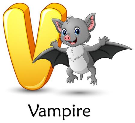 Vector illustration of Letter V is for Vampire Bat cartoon alphabet Illustration