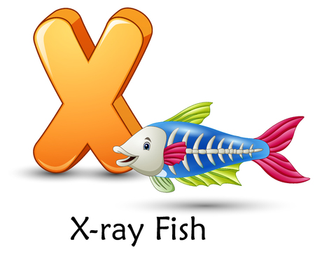 Vector illustration of Letter X is for X-ray fish cartoon alphabet Vettoriali