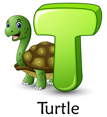 Vector illustration of Letter T is for Turtle cartoon alphabet Çizim