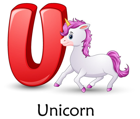 Letter U with Unicorn cartoon