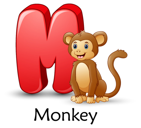 Vector illustration of Letter M is for Monkey cartoon alphabet Stock Illustratie
