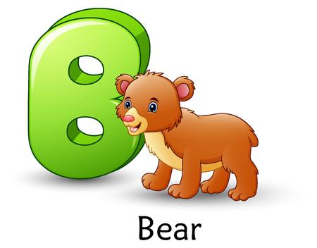 Vector illustration of Letter B is for Bear cartoon alphabet