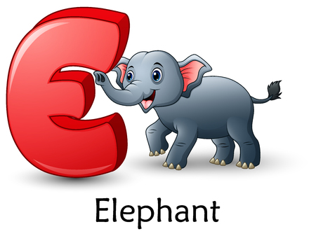 Vector illustration of Letter E is for Elephant cartoon alphabet