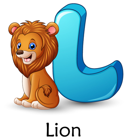 Letter L is for Lion cartoon alphabet