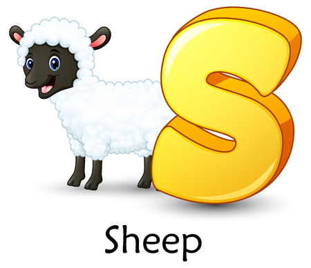 Letter S is for Sheep cartoon alphabet
