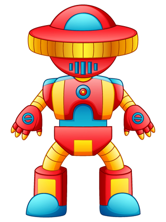 Vector illustration of Colorful toy robot cartoon isolated on white background