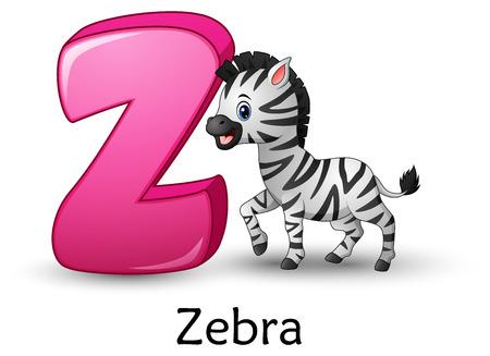 L'illustration vectorielle de la lettre Z est pour l'alphabet de dessin animé de zèbre