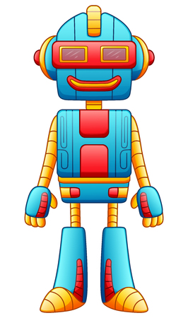 Vector illustration of Cute cartoon robot character with sunglasses isolated on white background