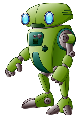 Vector illustration of Green robot cartoon character isolated on white background
