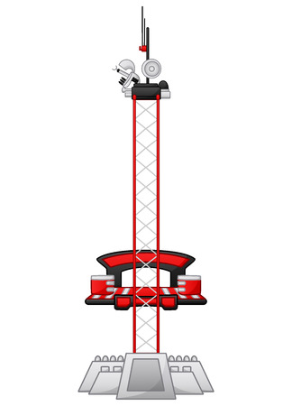 Vector illustration of Satellite tower isolated on white background