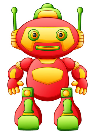 Vector illustration of Colorful toy cartoon robot isolated on white background