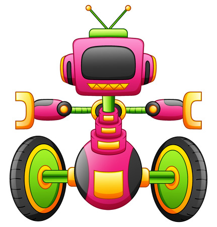 Vector illustration of Cute cartoon robot character with two-wheel isolated on white background