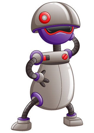 Cute cartoon Robot isolated on a white background Stock Photo