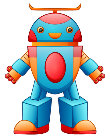 Colorful toy robot cartoon isolated on white background