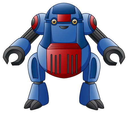 Vector illustration of blue robot character, isolated on white background.
