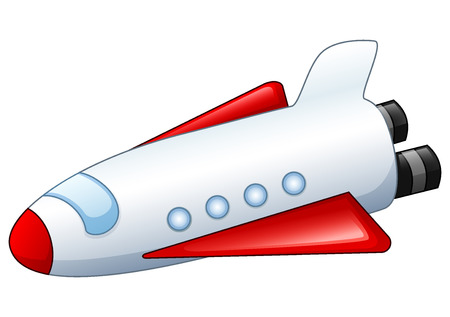 Vector illustration of Cartoon spaceship isolated on white background