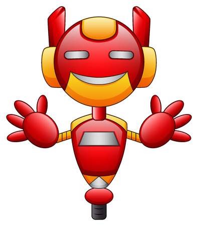 Red robot cartoon character isolated on white background Stock Photo