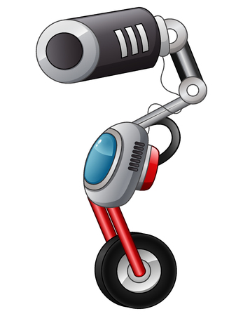 Vector illustration of Cartoon robot with a camera isolated on white background