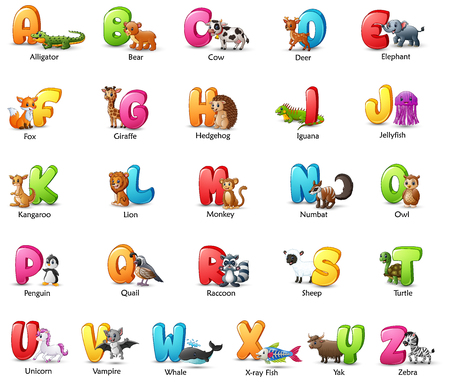 Vector illustration of Cartoon colorful alphabet set with different animals