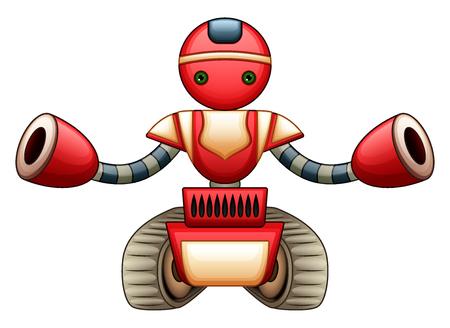 Vector illustration of Red robot cartoon Illustration