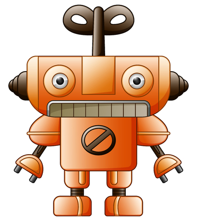 Vector illustration of Cartoon cute robot toy isolated on white background Illustration