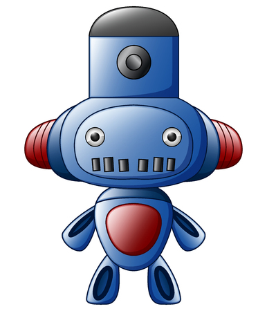 Vector illustration of Cute cartoon blue robot isolated on white background