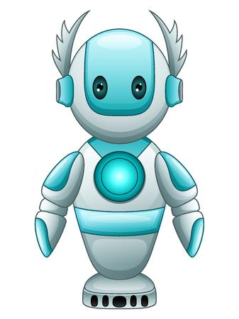 Vector illustration of Cute cartoon blue robot Illustration