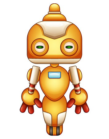 Cute cartoon robot isolated on white background