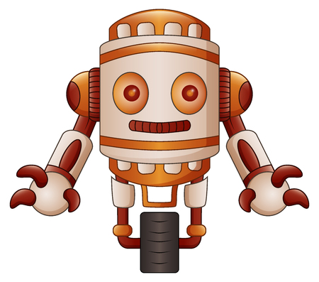 Vector illustration of Brown robot cartoon isolated on white background