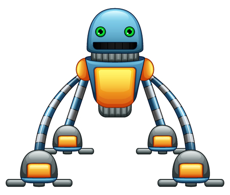 Vector illustration of Robot spider cartoon with green eyes isolated on white background