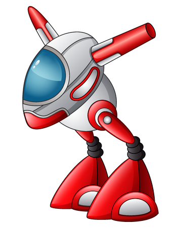 Vector illustration of cute robot cartoon, character isolated on white background.