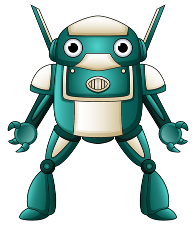 Vector illustration of Cartoon robot character isolated on white background Illustration